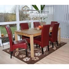 6x esszimmerstuhl küchenstuhl stuhl crotone leder rot dunkle beine