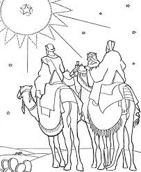 Three Kings Heading To Place Where Jesus Was Born Coloring Pages