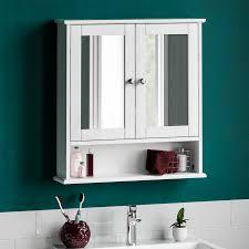 details zu badezimmer hängeschrank doppel spiegel tür hölzern weiß regal ablage fächer