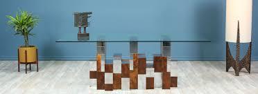 100 Evans Glass Cleaner Danish Modern LA Paul Cityscape Burl Wood Chrome