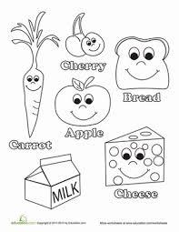 Kindergarten Coloring Worksheets Healthy Food Coloring Page