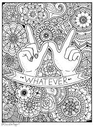 WHATEVER Coloring Page Book Pages Printable Adult Hand Drawn Doodle Words Art Therapy Instant Download Print