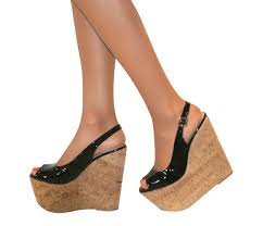 ladies slingback platform patent cork wedge high heel peep toe