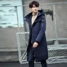 2017 Japanese Fashion Casual Mens Winter Color Hooded Down Jacket Youth Korean Version Of Slim Long Knee White Duck In Jackets From
