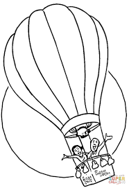 Hot Air Balloon Black And White Coloring Page Free Printable Pages Clipart