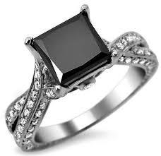 Black Princess Cut Diamond Engagement Ring at Amazon