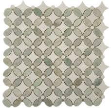 Shell Stone Tile Imports by Euro Glass Backsplash Flower Ming Green U0026 Thassos White