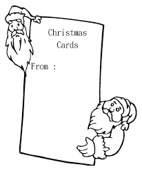 Blank Christmas Card With Santa Coloring Page