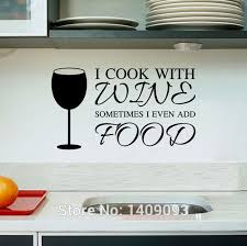 Kitchen Wall Stickers Cook With Wine Vinyl Quotes DIY Decoration Removable Waterproof Decals