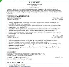 Pharmacy Technician Resume Example New Sample For Entry Level Of
