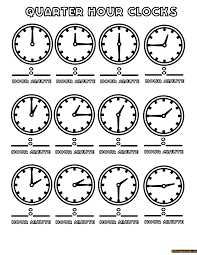 Quarter Hours Clock Coloring Page
