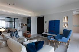 Cream Blue Living Room