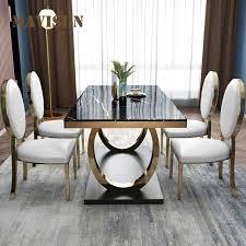 moderne luxus esstisch für esszimmer möbel marmor tisch top metall tisch rahmen leder stühle
