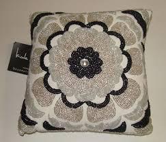 nicole miller home black white glass beaded designer throw pillow