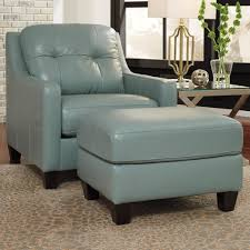 Contemporary Leather Match Chair & Ottoman by Signature Design by