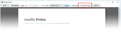 Firefox Simplify Page for clutter free printing