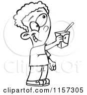 Cartoon Clipart A Black And White Boy fering To A Juice Box Vector Outlined