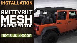 Install Jeep Wrangler Smittybilt Mesh Extended Top 2010 2018 JK 4