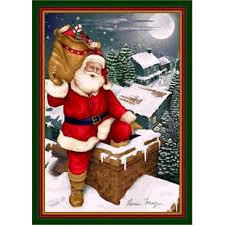 Winter Seasonal Up On The Housetop Christmas Area Rug