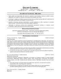 Automotive Technician Resumes Sample Resume For An Auto Mechanic Objective Examples