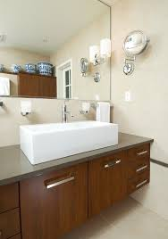 lighted magnifying mirror in bathroom contemporary with marble