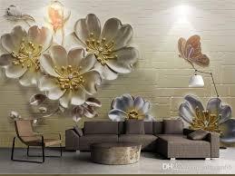 großhandel individuelles foto 3d stein tapete schmetterling blume tv hintergrund wand tapete sofa im wohnzimmer zu hause dekoration 8d wand 3d