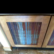 Reclaimed Corrugated Metal Used For Cabinets