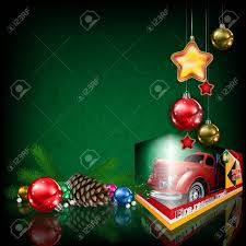 Grunge Greeting With Fire Truck Toy And Christmas Decorations ...