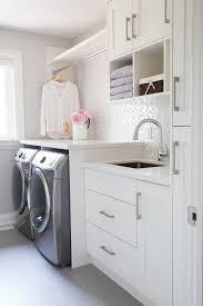 Short Narrow Floor Cabinet by Small Laundry Room Glass Mosaic Backsplash White Cabinets Grey