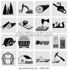 Woodworking And Construction Related Icons Set