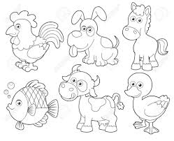 Adult Illustration Of Farm Animals Cartoon Coloring Book Royalty