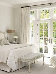 French Door Treatments Ideas by French Double Doors With Simple White Drapes For Covering