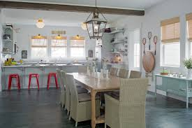 slate tile flooring dining room with antiques bar stools