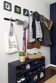 Check Out This Small And Modern Navy Entryway Makeover Using Sherwin Williams Paint In Anchors