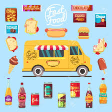 Food Truck With Big Set Summer Meal, Fast Food Snacks, Bottle ...
