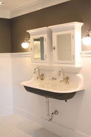 Small Trough Bathroom Sink With Two Faucets by Inspirational Photograph Of Bathroom Trough Sink Bathroom Design
