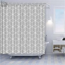 nyaa benutzerdefinierte geometrische gold linie wasserdichte polyester stoff dusche vorhang badezimmer dekor vorhänge mit 12 haken große größe