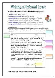 English worksheet Informal Friendly Letter