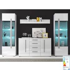 esszimmer kombi mit 2 vitrinen und sideboard colorado 61 in weiß hochg