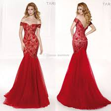 2016 Lace Beading Evening Dresses Red Off Shoulder Mermaid Tulle
