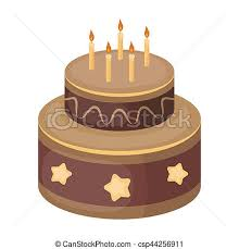 Chocolate Cake With Stars Icon In Cartoon Style Isolated White Background Cakes Symbol Stock