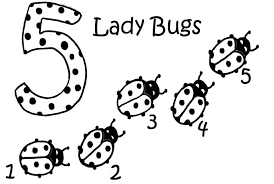 Five Ladybugs Colouring Pages