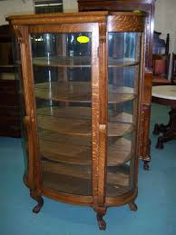 Curved Glass Curio Cabinet Antique by Oak Curved Glass China Or Curio Cabinet From Robertsantiques On