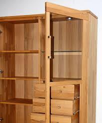 massivholz vitrinenschrank rechts esszimmerschrank casera schubladen kernbuche geölt