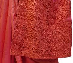 Gajari Designer Silk Hand Embroidery Thread Stone Work Saree Cutwork Sari