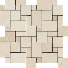 Versailles Tile Pattern Travertine by Crema Marfil Polished Marble Mini Versailles Pattern Mosaic Tile