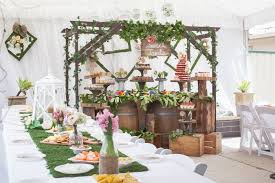 Rustic Earthy Bridal Shower Dessert Bar And Dining Table