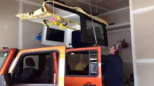 Racor Ceiling Mount Bike Lift Instructions by Removing Jeep Hardtop W Racor Hoist Youtube