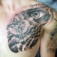 Doves Flying In Clouds Mens Upper Chest Tattoos