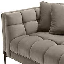 casa padrino luxus lounge sofa greige schwarz 223 x 95 x h 68 cm linksseitiges wohnzimmer sofa mit edlem samtsoff und 2 kissen